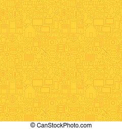 Thin Smart House Line Seamless Yellow Pattern Vector Web...