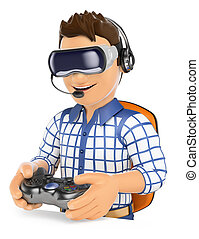3D Young gamer playing with virtual reality glasses. VR - 3d...