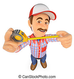 3D Handyman with with a tape measure - 3d working people....