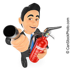 3D Businessman with a fire extinguisher Occupational risk...