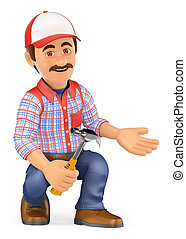 3D Handyman squatting with a hammer pointing to side - 3d...