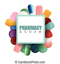 Different Colorful Medicine Pills and Capsules with Pharmacy...