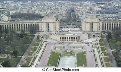 PARIS, FRANCE - MARCH 23, 2016: Aerial view of the River Seine and Trocadero in Paris, France. View from the Eiffel Tower