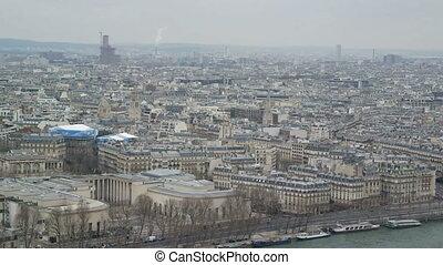PARIS, FRANCE - MARCH 23, 2016: Aerial view of Paris Skyline...