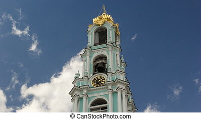Clock on the tower timelapse hyperlapse in Sergiev Posad,...