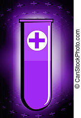 test tube with red cross symbol - Illustration of test tube...