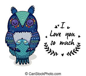 Cute illustration owls with text I love you so much
