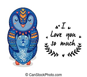 Cute illustration penguins with text I love you so much