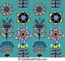 Folk art pattern with flowers - Scandinavian vector seamless...
