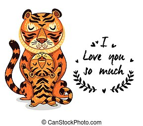 Cute illustration tigers with text I love you so much