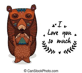 Cute illustration bears with text I love you so much