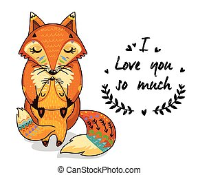 Cute illustration foxes with text I love you so much - Cute...