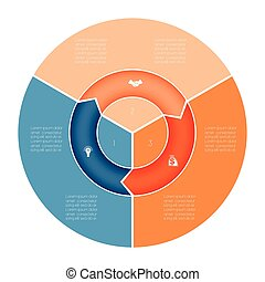 Chart Template Infographic numbered three position - Area...