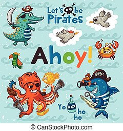 Ahoy. Pirate illustration with crocodile, octopus, shark