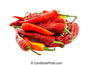 Red hot chilli peppers isolated on white background
