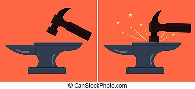 Anvil and hammer. Vector flat cartoon illustration
