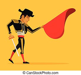 Matador vector flat cartoon illustration