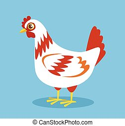 Cartoon white chicken. Vector flat illustration