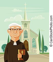 Catholic priest and church Vector flat cartoon illustration