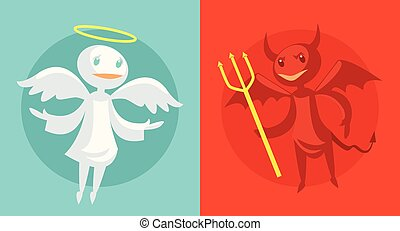 Devil and angel Vector flat cartoon illustration
