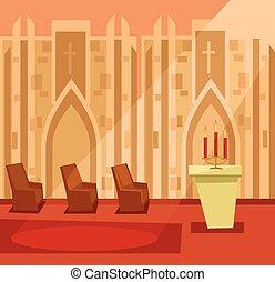Empty church room inside. Vector flat cartoon illustration