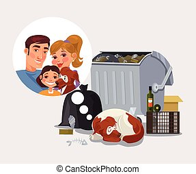 Homeless dog remember about family Vector flat cartoon...
