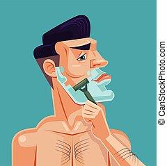 Man shaving face Vector flat cartoon illustration
