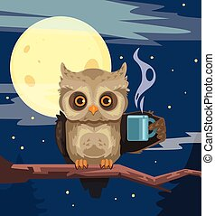 Owl with cup of coffee Vector flat cartoon illustration