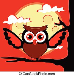 Owl sitting on tree with open wings