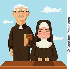 Priest and nun. Vector flat cartoon illustration