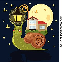 Fabulous snail with house on her back Vector flat cartoon...