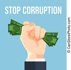 Stop corruption. Vector flat cartoon illustration