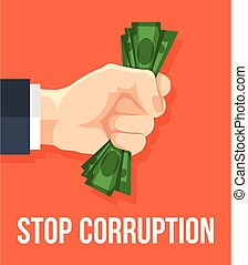 Stop corruption Vector flat cartoon illustration