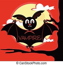 Bat vampire sitting on branch