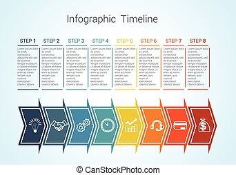 Timeline Infographic colored horizontal arrows numbered for...