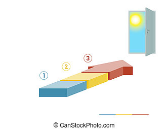 Template infographics from colored parts arrows  and doorway with sky, sun, on white background numbered for 3 positions