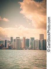 Miami - Vintage toned Miami skyline