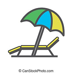 Lounger Beach Sunbed Chair flat icon, vector.