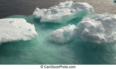 Iicebergs floating in sea around Greenland. - Iicebergs...