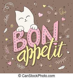 vector illustration of hand lettering text - bon appetit....