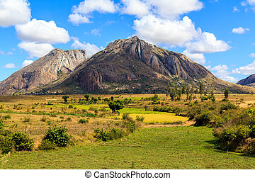 Landscape with rock formation in central Madagascar on a...