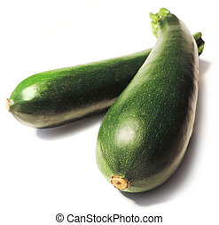 Zucchinis, isolated on White