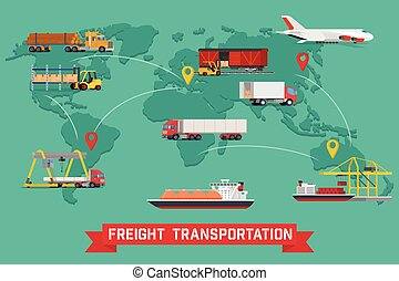 Freight Transport and Packaging Infographics in Flat style icons such as Truck, Plane, Train, Ship.