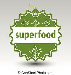 vector green superfood round stamp tag label with string and...