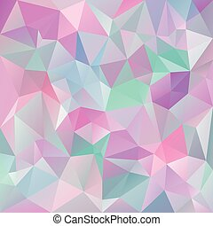vector abstract irregular polygon background with a triangular pattern in icy pastel colors - pink, violet, purple, blue, green