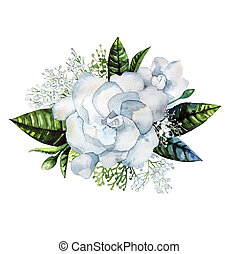 Watercolor gardenia and gypsophila vignette isolated on...