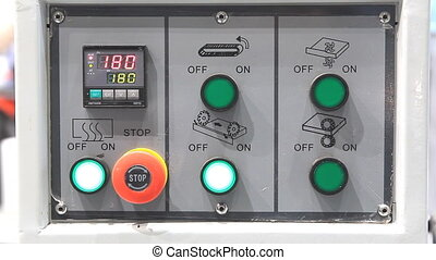 Machine with blinking indicator lamp - Machine control panel...
