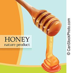 Vector Pouring Honey From Wooden Stick Realistic illustration. Card, Poster, Shop, Advertisement Template.