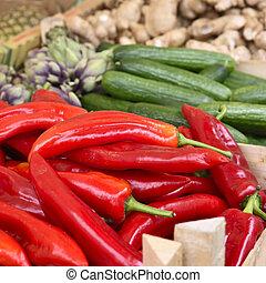 grönsaken, olika, marknaden