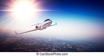 Realistic image of White Luxury generic design private jet...